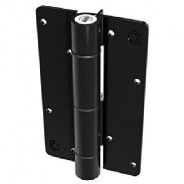 Aluminum Adjustable Self-Closing Gate Hinge, Aluminum Ridges, No Screws - D&D KF3BL (Single) - Black