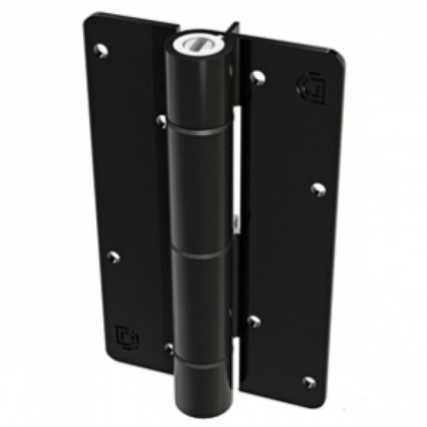Aluminum Adjustable Self-Closing Gate Hinge, Alignment Ridges, Screws - D&D KF3BLS (Pair) - Black