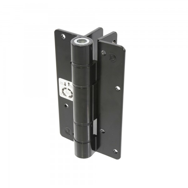 Aluminum Adjustable Self-Closing Gate Hinge, Wall or Post Mounted, No Screws - D&D KF3ABL (Single) - Black